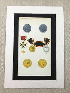 Belgian-Military-Medal-Group-Royal-Order-of-the-Crown-Original-Antique-Print