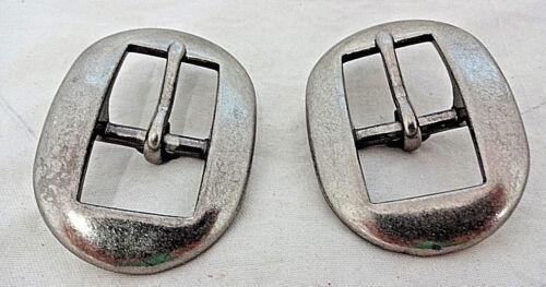 Antiqued Nickel Sleek Cart Buckles Pair Horse Tack Headstall Belts Spur Straps