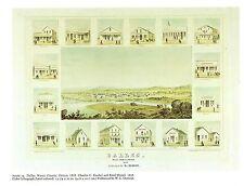 """1976 Vintage CITY """"DALLES, WASCO COUNTY, OREGON (1858)"""" Color Art Lithograph"""