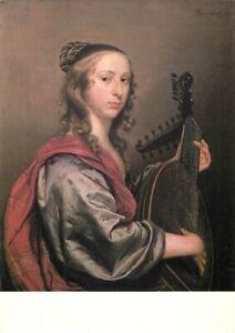 B027-ART-postcard-JAN-MYTENS-Dutch-School-Lady-Playing-A-Lute-Old-Master-paint