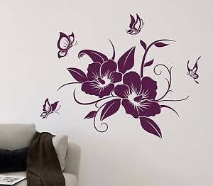 wandtattoo hibiskus schmetterlinge bl te blume ranke schmetterling aufkleber ebay. Black Bedroom Furniture Sets. Home Design Ideas