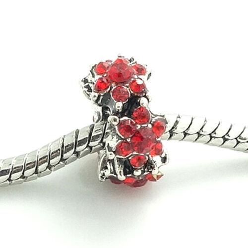 Red 1pcs Silver CZ European Charm Beads Fit 925 Necklace Bracelet Chain DIY