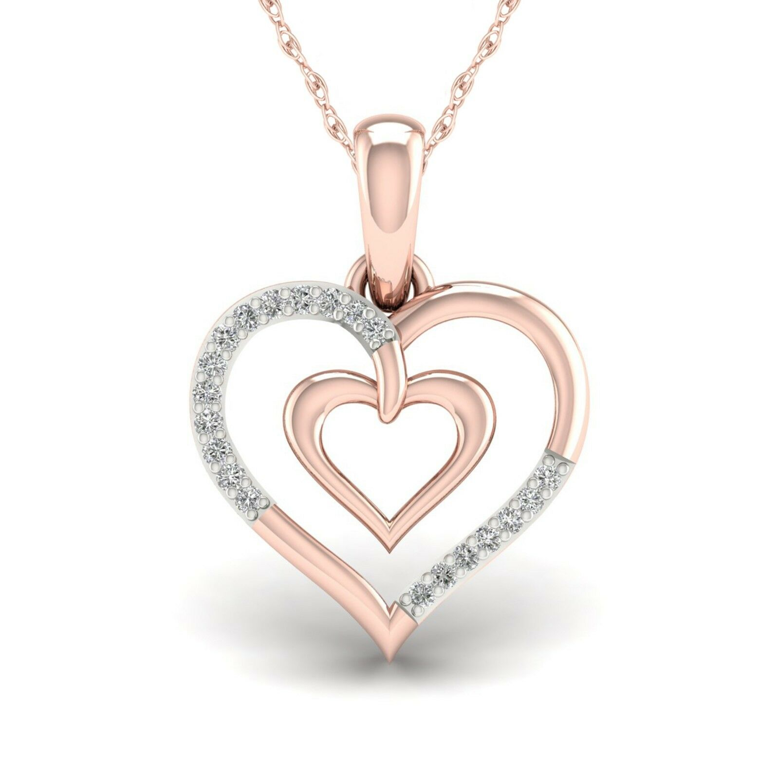 Real 10K pink gold 0.05ct TDW Diamond Heart shape Pendant