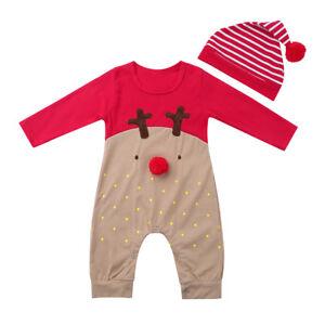 Kinder Baby Mädchen Strampler Romper Langarm Jumpsuit Hose Hut Sets Outfit 3tlg