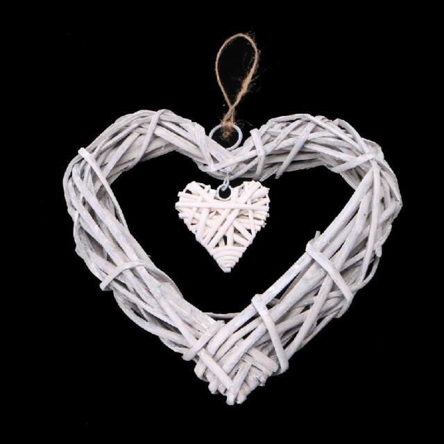 Shabby Chic Wicker Love Heart Wreath Wall Hanging Wedding Birthday Party Decor