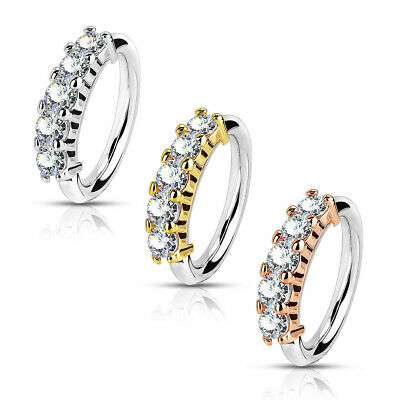 1-20 18 OR 16 Gauge 5//16 Length Nose or Ear 316L Surgical Steel Bendable Hoop Ring with 5 Lined CZ N120