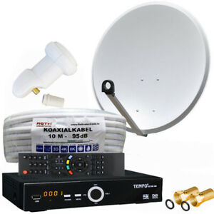 Satanlage-1-Teilnehmer-mit-FULL-HDTV-Sat-Receiver-LNB-Single-60cm-Sat-Schuessel