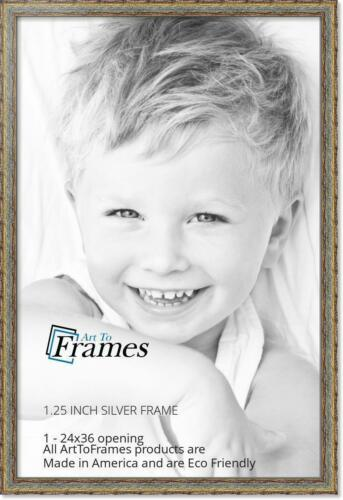 """ArtToFrames Picture Frame Custom 1.25/""""  Silver w Gold Accent Wood 4565 Small"""