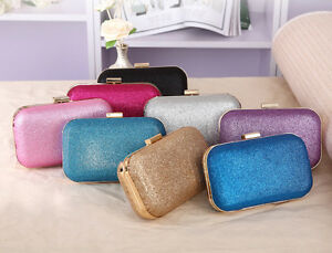 NEW-Fashion-Hard-Women-Clutch-Bag-Box-Evening-Party-Glitter-Chain-Handbag-Wallet