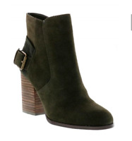 Sbicca Lorenza Forest Green Suede Leather Ankle Booties Boots Womens 8 M