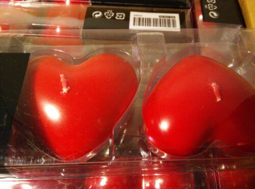Lots 6 NEW IKEA Unscented Red Heart Shaped Block Candles Weeding or Valentine/'s