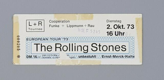 """Rolling Stones-Ticket """"Hamburg Ernst-Merck-Halle"""" 02.10.1973-European Tour"""