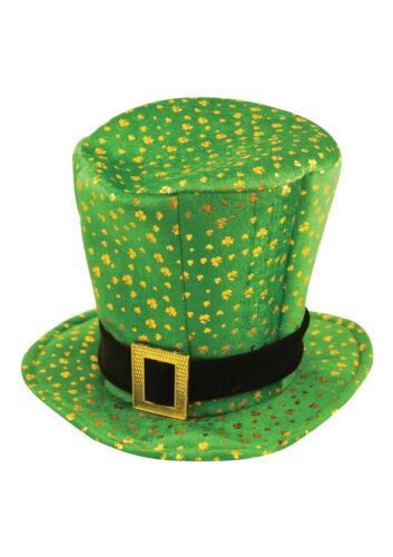6//12//18x St Patricks Irish Ireland Eire Top Hat Green with Gold Shamrocks Eire