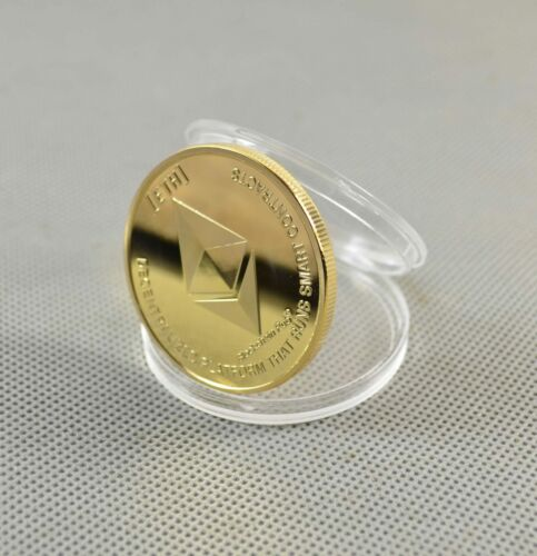 Hot!Gold Plated Commemorative Collectible Golden Iron ETH Ethereum Miner Coin US