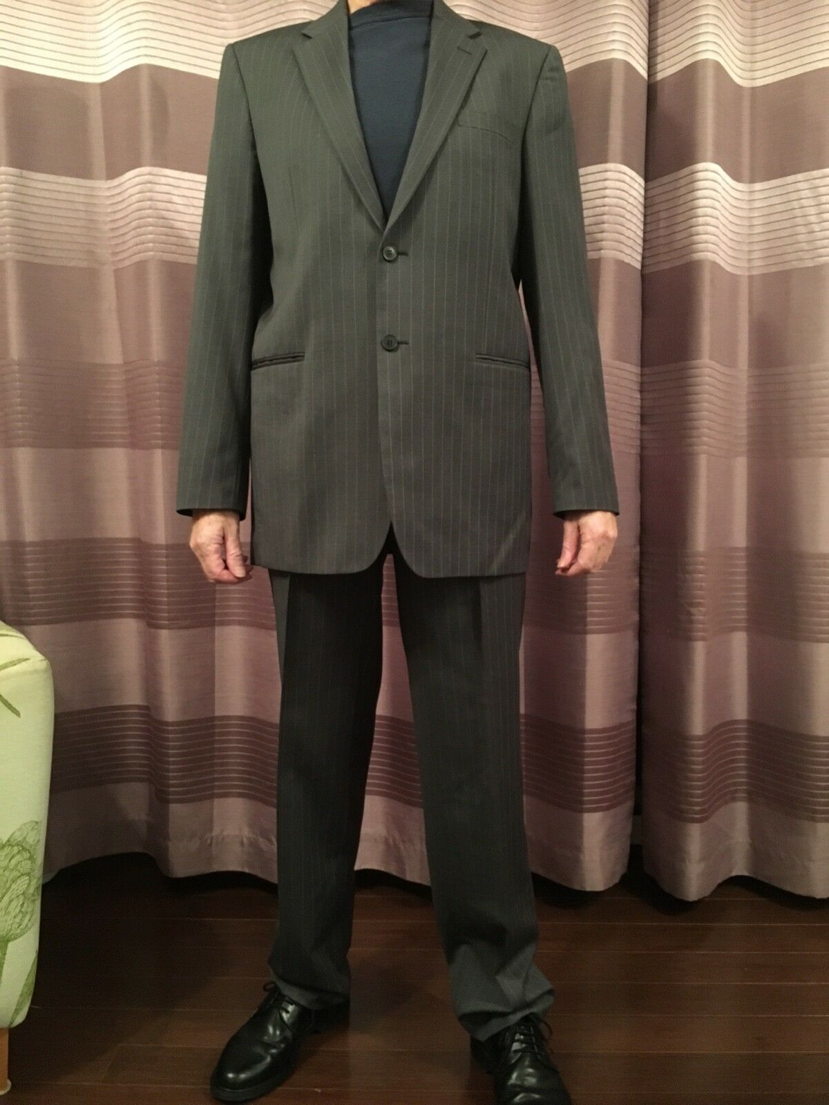 Mens Single Breasted Pinstriped Pierre Cardin Light Grey 2 price Suit