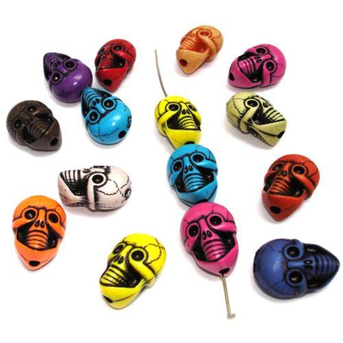 20mm calavera//Skull 10 unidades Perlas acrílico perlas Mix #k24415 multicolor
