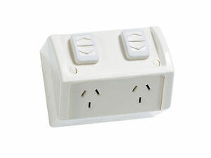 Clipsal Double Weatherproof Powerpoint Outdoor Power Outlet 10 Amp GPO WSC227/2