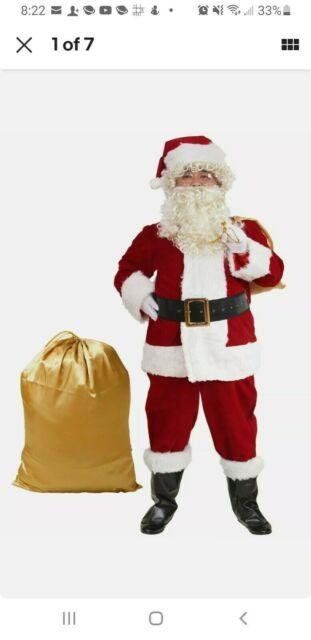 Santa Claus Suit Crimson Red Premium Plush Adult Mens Costume Christmas