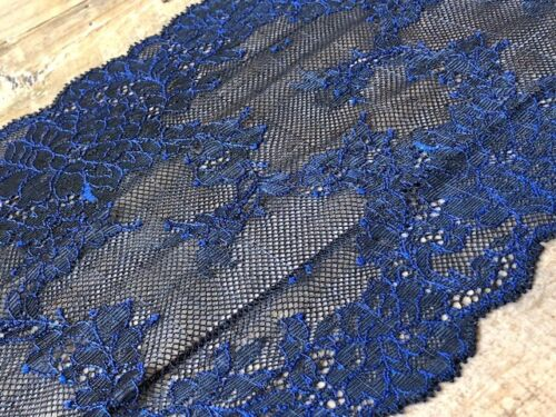 "laverslace Black Blue Corded Floral Wide Stretch Tulle Lace Trim 7.5/""//19cm Goth"
