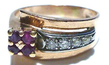 14k White Gold Diamond and Ruby Ring Size 8