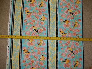 American-Goldfinch-Finches-Bird-Rose-Roses-Stripe-Timeless-C-3489-cotton-fabric
