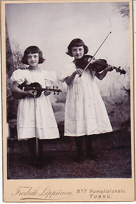 OLD Cabinet Photo Children Girls + Violin 1900s Russia Finland