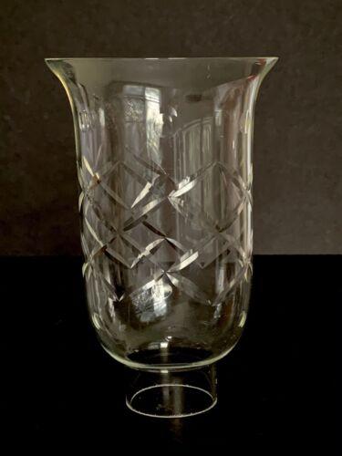 "Vintage Cut Glass Hurricane Chimney Globe Criss Cross /& Dots 6/"" tall 1.5/"" fitter"