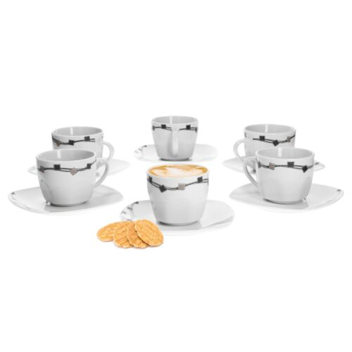 6er Set Kaffeetassen mit Untertassen Casetta Porzellan weiß Dekor Kaffee Tassen