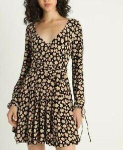 7253-New-Free-People-Pradera-Printed-Skater-Plunging-Neckline-Tunic-Dress-L