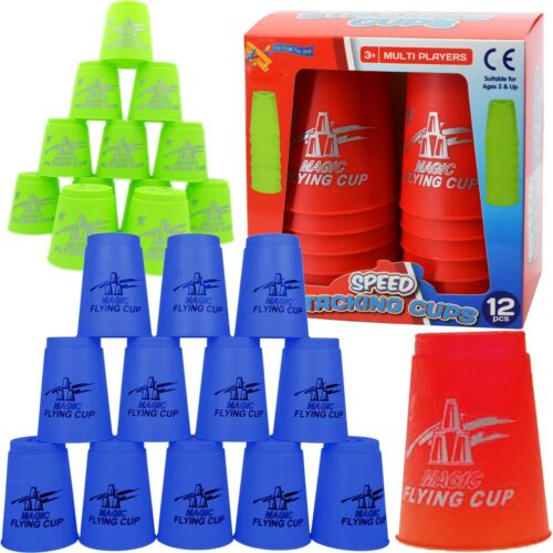 Set of 12 Stacking Cups Magic Flying Sports Quick Cups Challenge Party Toy
