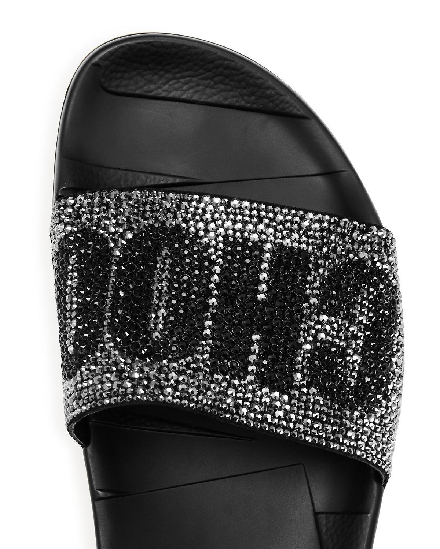 New in Box New Jimmy Choo Rey Noir Noir Noir Rose ou Noir Logo Pool Slide Sandales 36 37 38 a84005