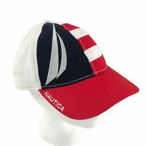 Vintage-Nautica-Sailing-Hat-Strapback-Cap-Red-White-Blue-Panel-Flag-RARE