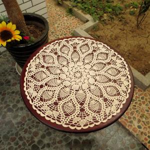 Vintage-Hand-Crochet-Cotton-Lace-Doily-Round-Table-Cloth-Cover-Floral-Beige-60cm