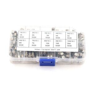 100pcs-glass-Fuse-5mm-x-20mm-Slow-Blow-T-1A-20A-250V-xdS-sc