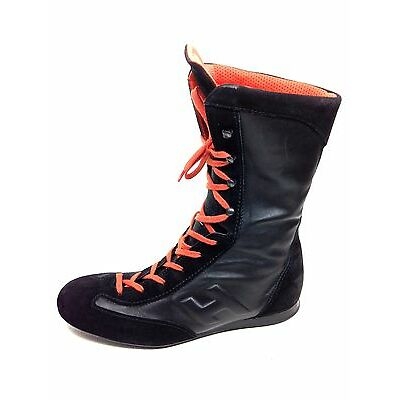 Hogan High Top Black Orange Ankle Boots Womens Size Eur.39  US.8.5