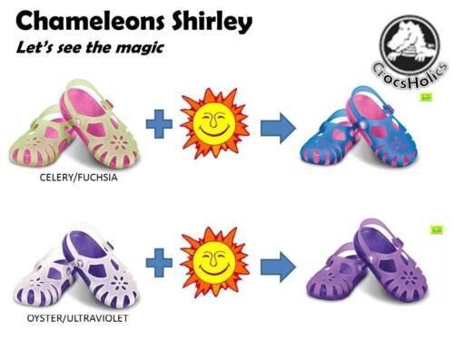 color changes on sun NWT CROCS SHIRLEY GIRLS CHAMELEONS C12 /& J3 SHOES SANDALS