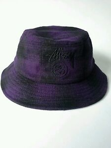 NEW-Stussy-Purple-Hombre-Plaid-Bucket-Hat-Embroidered-Logo-Size-SM-MED-38