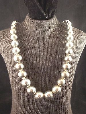 """24"""" JHR Graduated Sterling Silver Bead Necklace Taxco Mexico"""