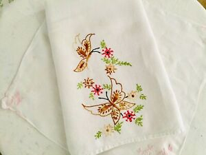 Vintage-Tea-Towel-Cotton-Dish-Towel-Embroidered-Butterflies-w-Pink-Borders