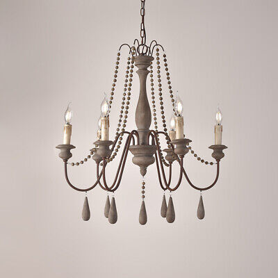 French Country Candle Style Wood Bead Swag 1 Tier2 Tier Wooden Chandelier White