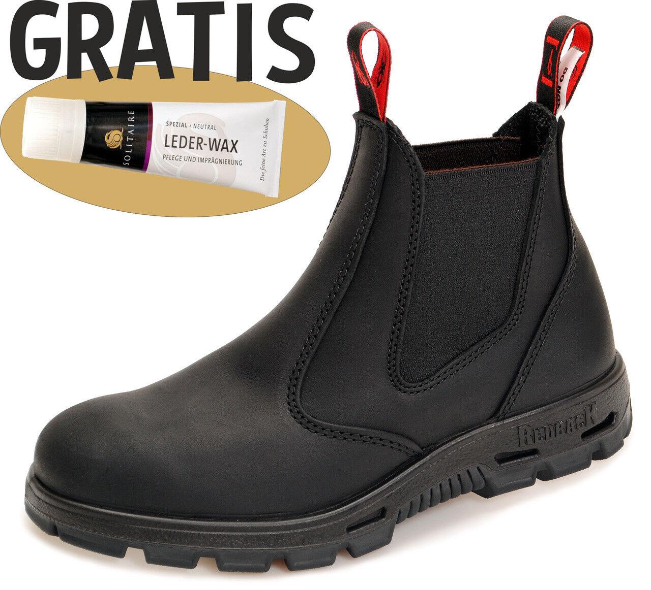 Redback Work schwarze Boots Arbeitsschuhe - komplett schwarze Work Sohle BUBBK schwarz +Zugabe 563e42