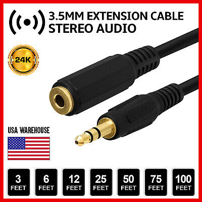 """25 Pack Lot 12ft 1//8/"""" 3.5mm Audio Headphone Male Stereo Cable M//M MP3 Aux PC"""