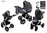 Baby Pram Pushchair Buggy Stroller + Car Seat, Modern Travel System 3 in 1 /2in1