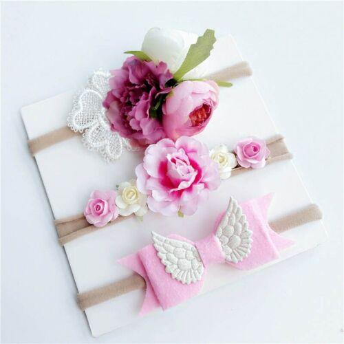 3 Pcs Baby Headband Crown Flower Bows Girl Newborn Elastic Baby Hair Band Turban