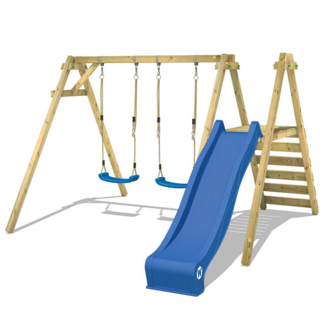 Wickey Smart Dash Wooden Swing Set With Slide Garden Climbing Frame ...