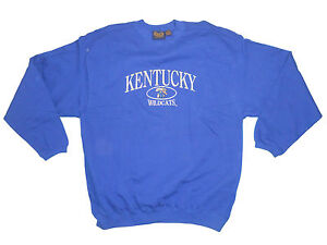 Kentucky wildcats adult v notch embroidered blue crew sweatshirt