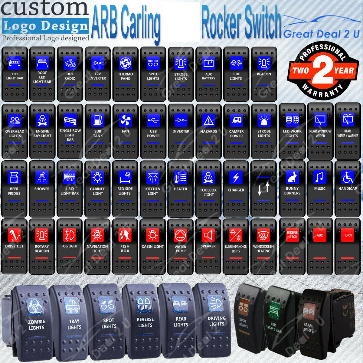 UK Fast Ship LED BACKLIT ROCKER SWITCH BLUE LED CARLING STYLE SWITCH WINCH
