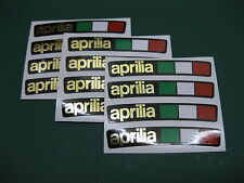 12 Aprilia wheel rim stickers with an Italian Flag Mirror gold on Black