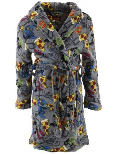 MacHenry Boys Robe Gray Game Over Video Game Pizza Fleece Long Sleeved Bathrobe