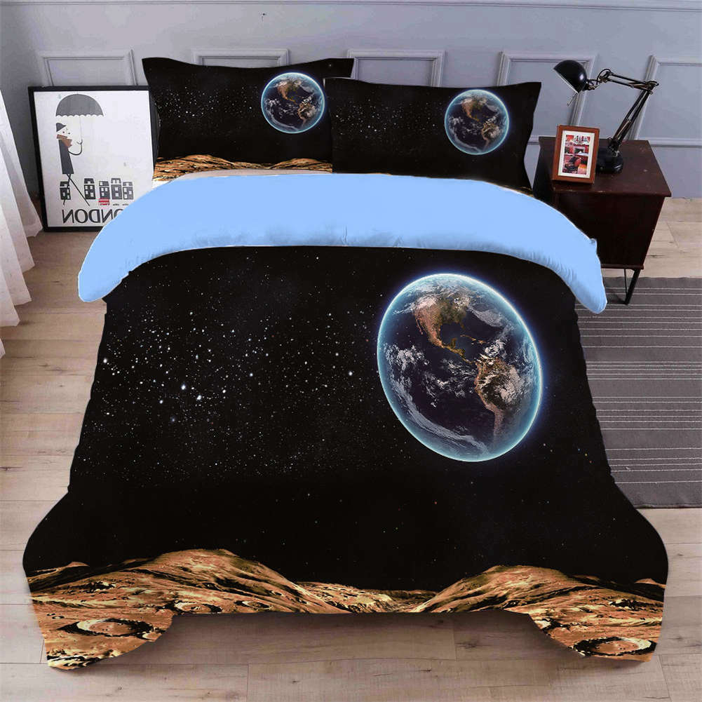 Mysterious Space 3D Quilt Duvet Doona Cover Set Single Double Queen King Print